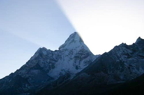 Sunrise on Ama Dablam, seen...