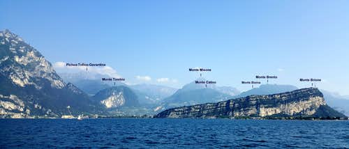 Prealpi Trentine annotated view from Garda Lake