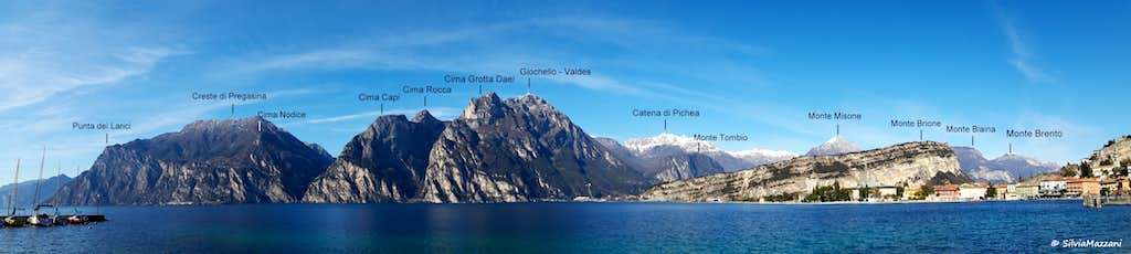 Labelled pano of Prealpi Gardesane seen from Torbole