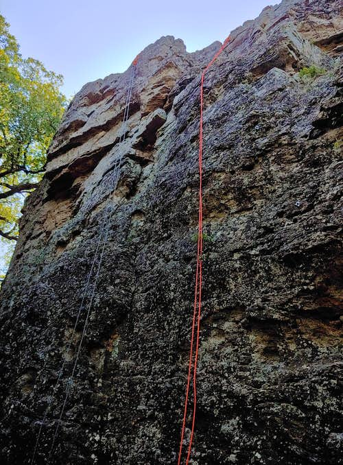 5.7-5.9 Routes on North Face of Cave Tower