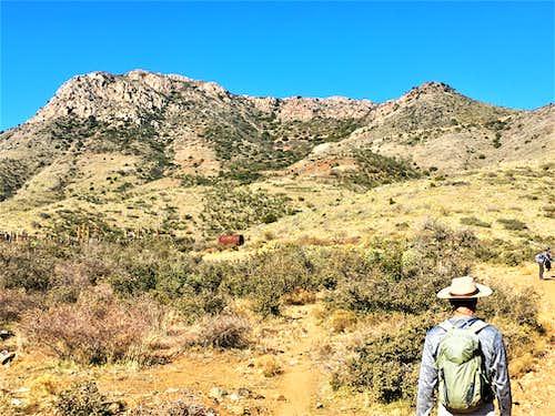 Zoom shot of the DeSoto Peak massif