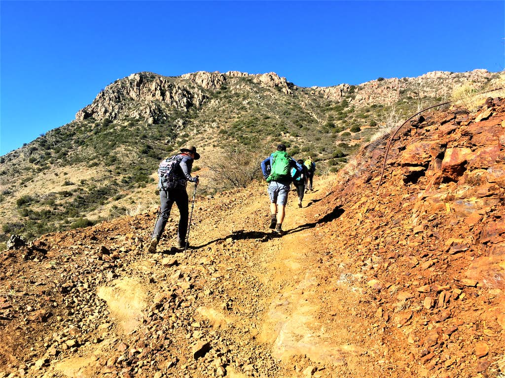 Hiking up the steep section of the road