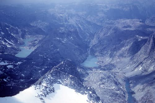 Looking W from Gannett Peak summit Sept 1968