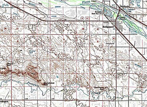Map to Courthouse Rock & Jail Rock