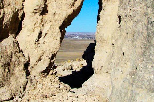 View of Bridgeport Through a Rock Crevice