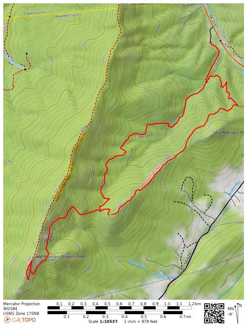 Dragon's Tooth Loop Hike - Map