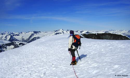 Admiring the landscape from the summit of Glittertind