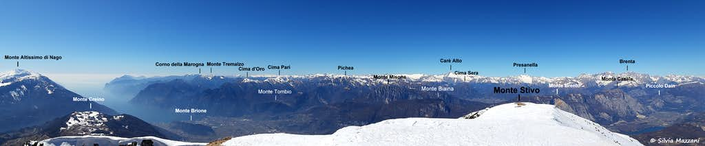 Very broad annotated pano from Monte Stivo