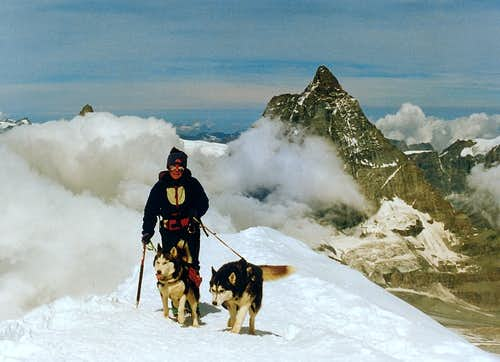 The arrival on the summit of Breithorn and the Matterhorn