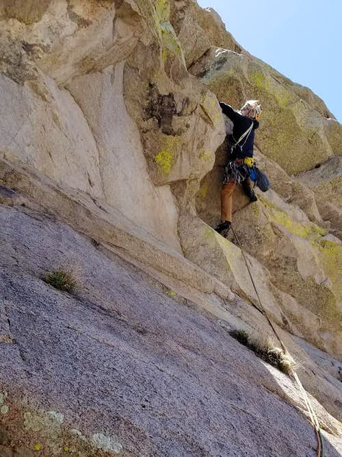 Dow leading the  crux pitch