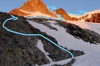 Route up to Gannett Peak on July 17 2020