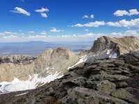 Verdi Peak north looking southeast toward Verdi Lake and middle and east summits