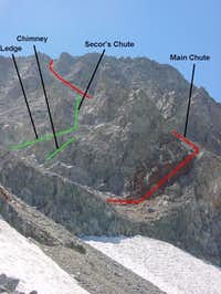The two NE Face chutes on...