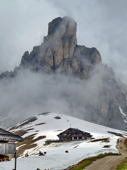 Ra Gusela from Passo Giau in late Spring after a snowy winter