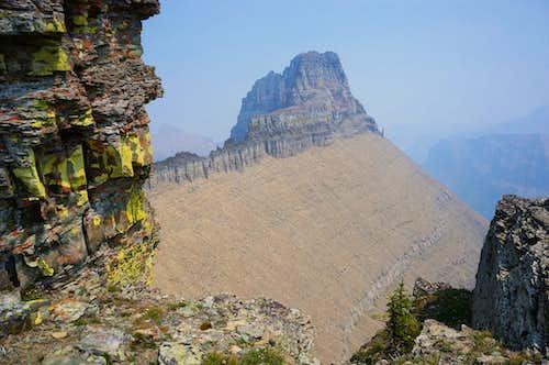 A smokey Mount Wilbur from South Iceberg Peak