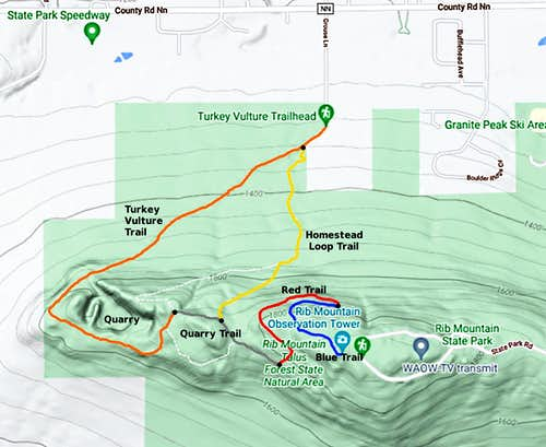 Rib Mountain's Most Scenic Trail Route Map