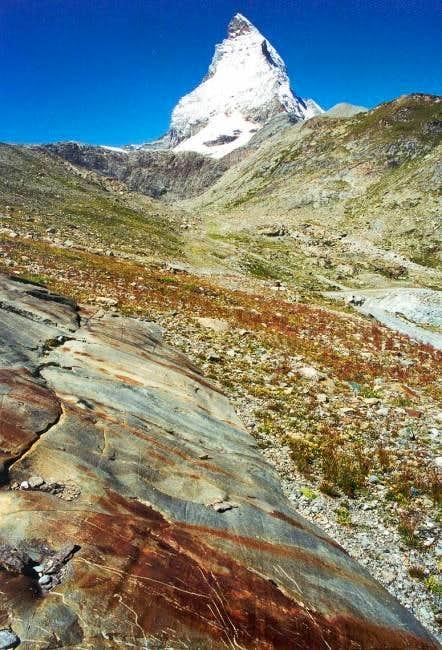 Colourful rocks at the base...