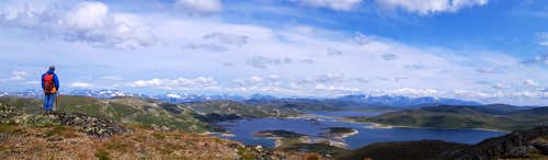 From the summit of Horntind, the Jotunheimen range far on the background