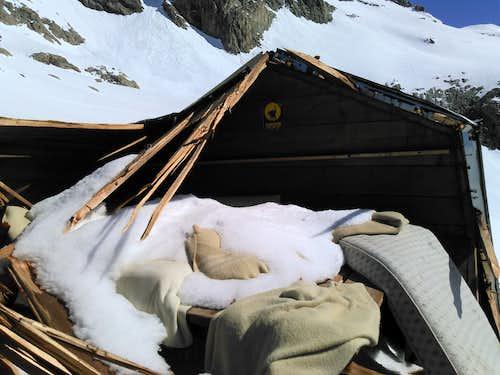The Bivacco della Sassa after the avalanche