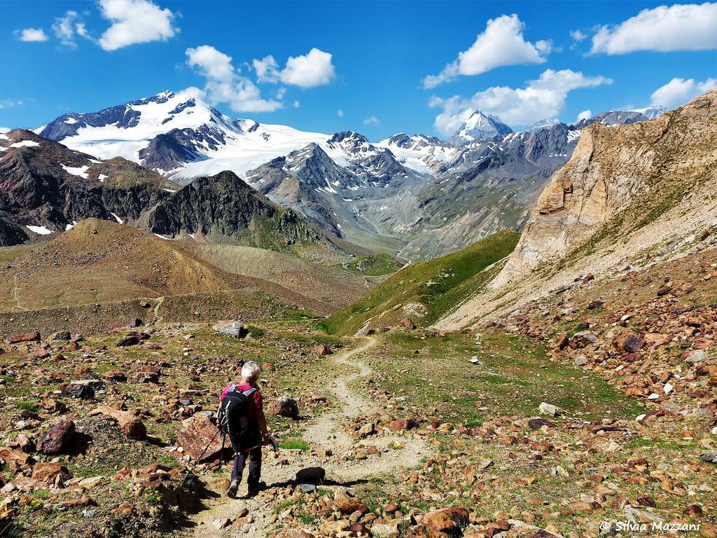 Descent to Cima Serana, Cevedale and Gran Zebrù on background