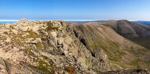 Braeriach (1296m) summit cairn. Cairngorms