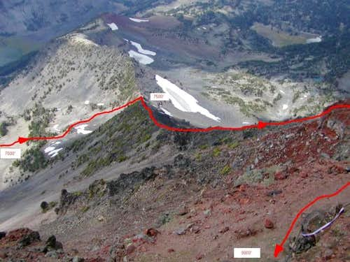 The route up Northwest Ridge,...