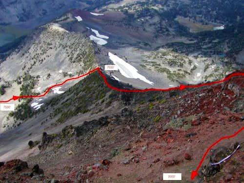 The route up Northwest Ridge,...