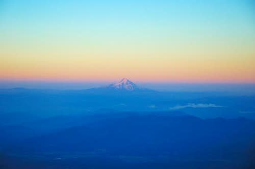 First Rays on Sun on Mount Hood