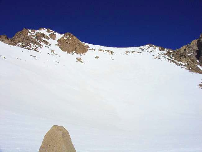 view looking up to the summit...