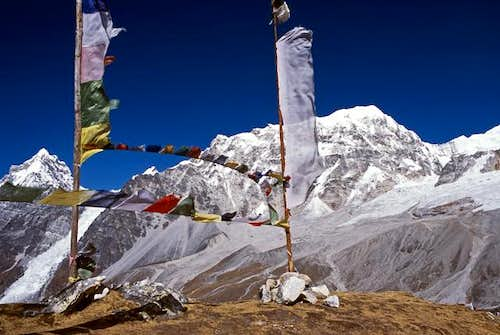 Prayer flags on the summit of...
