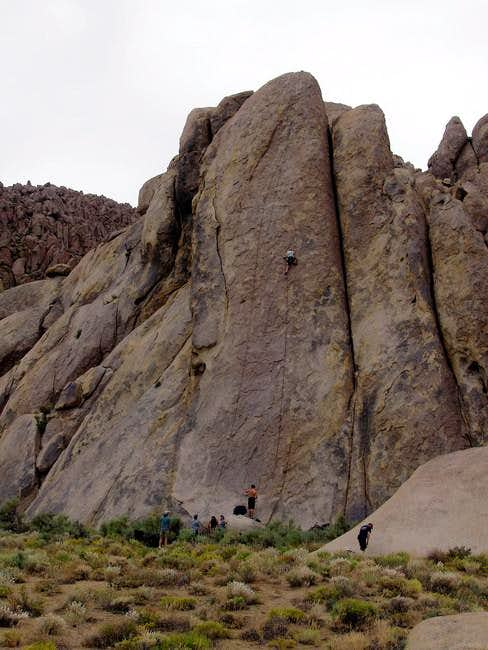 Climbers on Tall Wall. The...