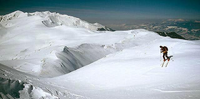 Descending on skis from Vf....