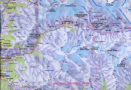 Map of the Langtang valley,...