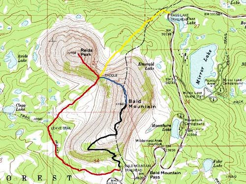 Black = Bald Mountain Trail...
