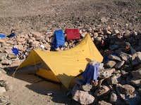 Camp site in the bolder field...
