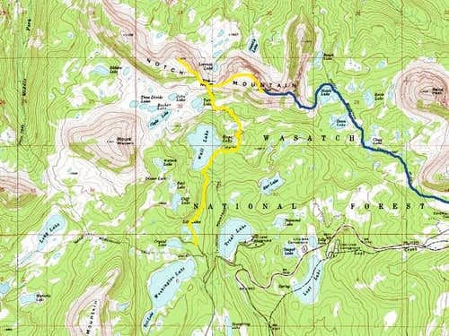 Blue = The Notch Lake Route...