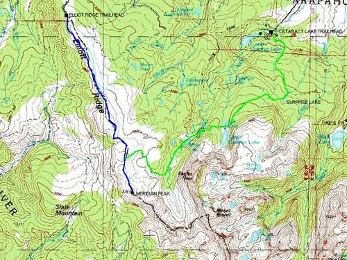 Cataract Lake Route (blue)...