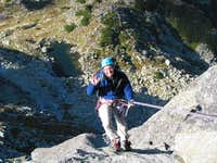 Mnich - rappelling through...