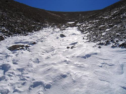 Looking up at Bross\' summit...