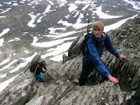 Scrambling up Mount Wilcox...
