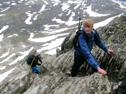 Scrambling up Mount Wilcox...
