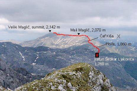 The approach to Veliki Maglic from katun Sirokar Ljakovica
