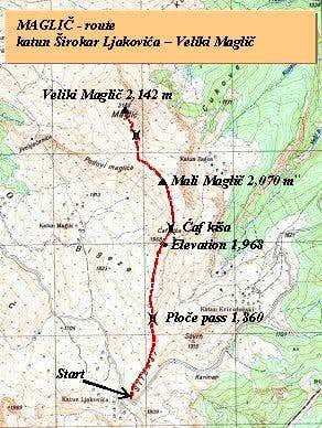 The map of approach to Veliki Maglic from katun Sirokar Ljakovica
