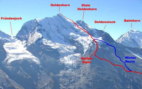 Doldenhorn, NW Flank Route