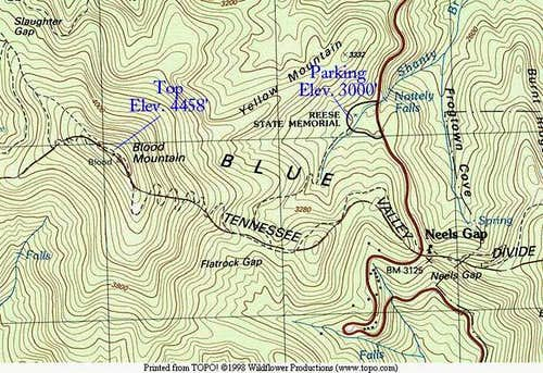 Topo map of Blood Mountain...