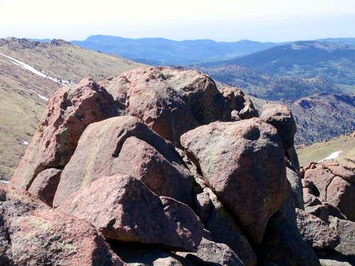 The summit boulders of...