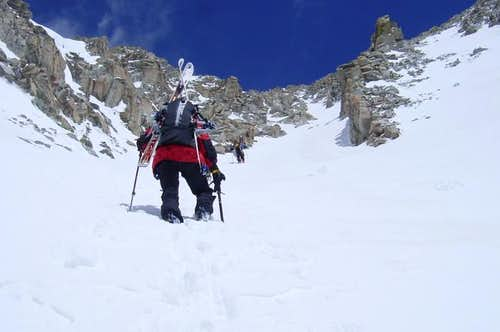Heading up the June couloir.