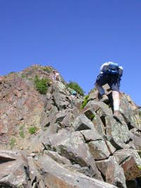 The ridge is steep, rocky,...