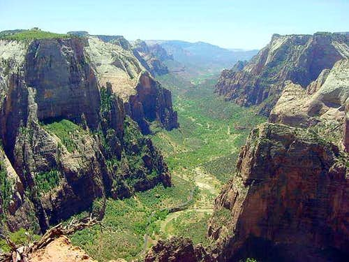 Wide view of Zion Canyon from...