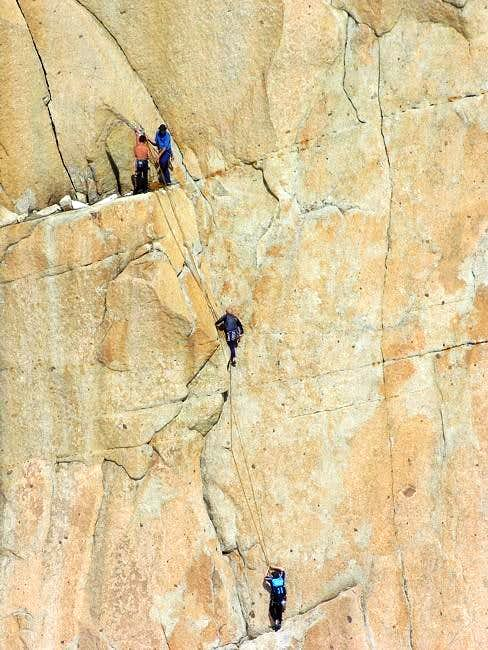 Climbers on the south wall of...